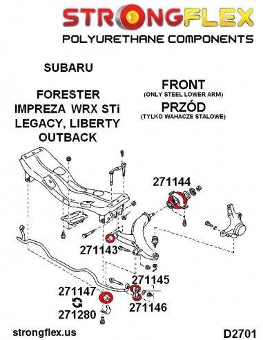071475A: Front wishbone front bush - bolt 14mm SPORT