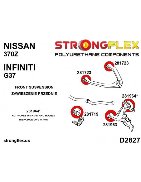 016075A: Front suspension bush kit SPORT