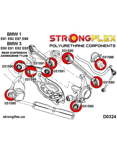 106135A: Front suspension polyurethane bush kit SPORT