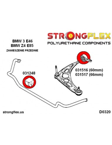 031420A: Front lower tie bar to chassis bush 58mm SPORT